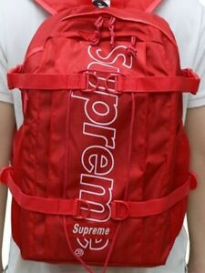 Supreme Backpack Fw18 Red Pre Owned Travel Laptop Ss19 School Bag Pouch by Ebay Seller