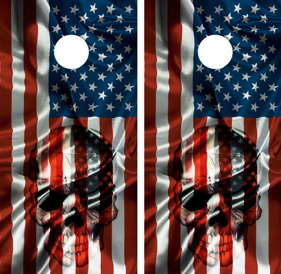 American Flag & Skull USA Cornhole Board Skin Wrap Decal Set FREE SQUEEGEE