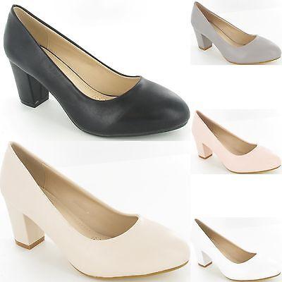 Señoras para mujer chicas Talón Mediados Tribunal de Trabajo Inteligente Bombas Zapatos Taco de Bloque Nuevo Tamaño