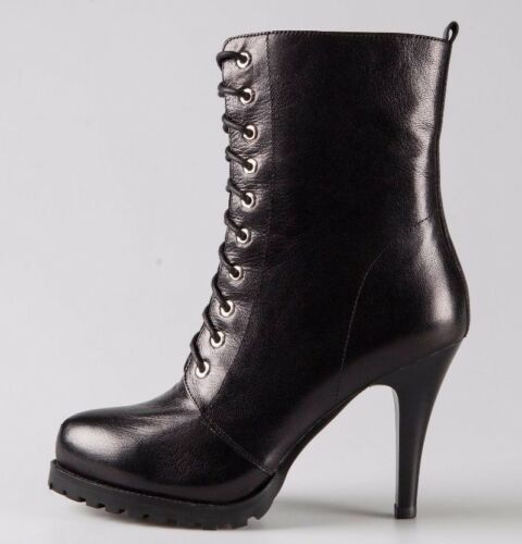 Women Black 100/% Real Leather Lace Ups Slim Heeled Side Zipped Ankle Boots