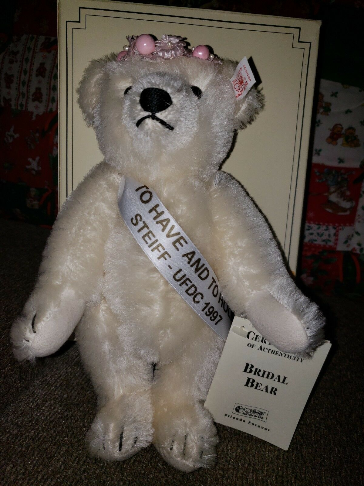 Steiff Bridal Bear 1997 LTD Ed #363 of 365  To have and to hold. SIGNED ON FOOT