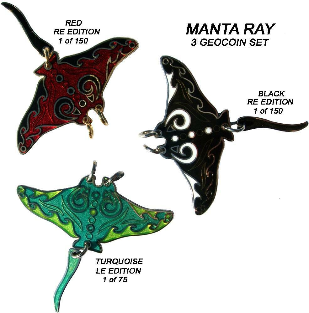 MANTA RAY - 3 GEOCOIN SET - NEW - - NEW G - UNACT - SOLD OUT - COLLECTABLE b549a9