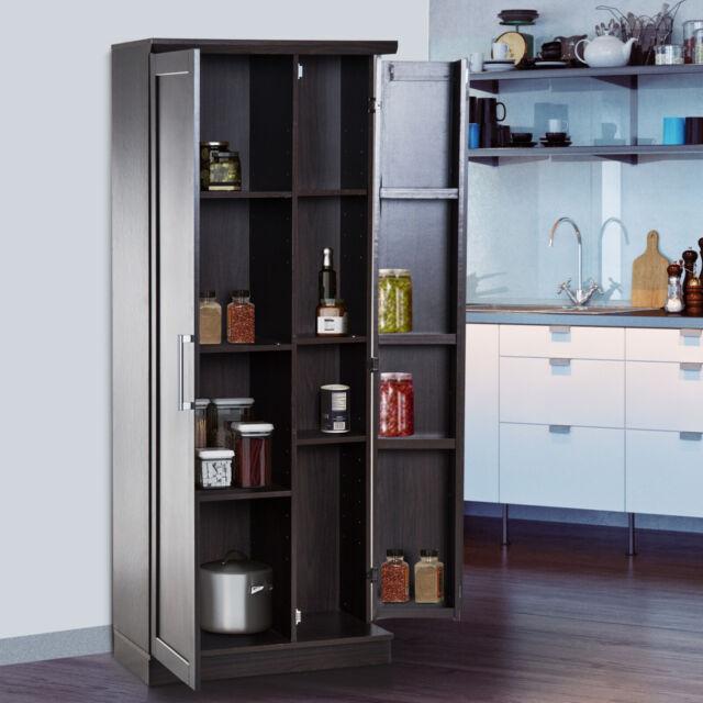 Astounding 72 Wood Free Standing Kitchen Pantry Organizer Storage Cabinet Cupboard Black Home Interior And Landscaping Dextoversignezvosmurscom