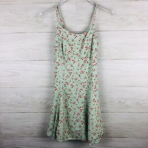 American-Eagle-Women-039-s-Dress-Tank-Fit-and-Flare-Green-Rose-Pattern-90-039-s-Size-7-8