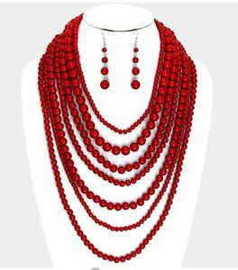 Image Is Loading Large Dark Red Pearl Long Bib Multi Layered