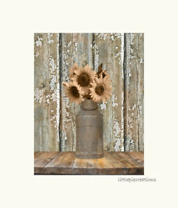 Rustic Sunflower Kitchen Farmhouse Home Decor Wall Art Matted Picture Ebay