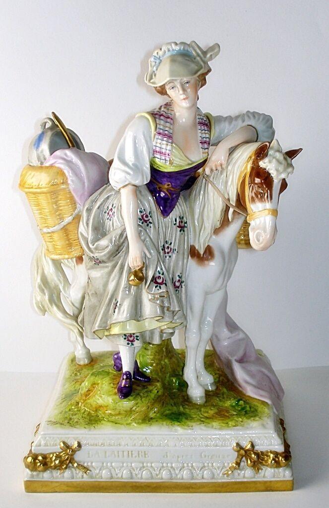 Scheibe-Alsbach große Figur Milchhändlerin  Marketenderin mit Pferd