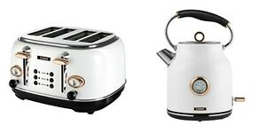 Tower ROSE GOLD WHITE 1.7 L Traditional Quiet Boil Kettle & 4 Slice Toaster