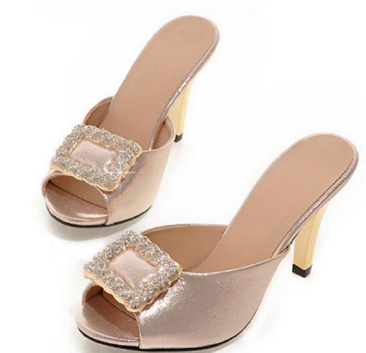 Zapatos zapatillas zuecos sandalias talón perno 8.5 cm oro tacón de aguja 9288