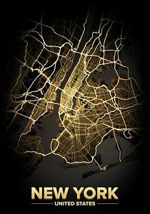 City Lights Poster Print Light Map New York Wall Art Posters