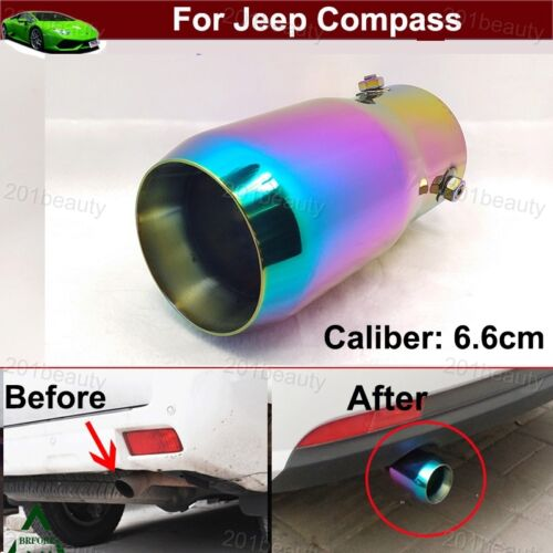 Color Exhaust Muffler Tail Pipe Tip Tailpipe Emblems For Jeep Compass 2008-2019