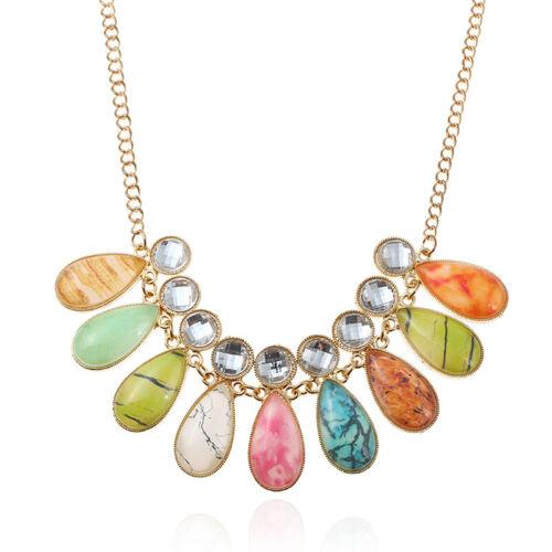 Declaración Vintage Cadena de oro Cristal Strass Grueso Babero Collar Joyería