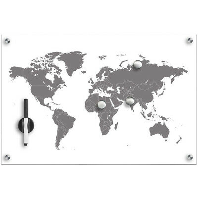 Glass Magnetic Notice Message Board World Map Memo Whiteboard Notepad Planner