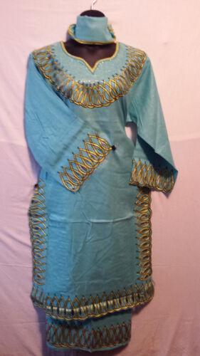 African Women Long Skirt Suit Traditiona dashiki Ethnic Sea Green Gold Free Size