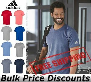 Adidas-Mens-Blank-Short-Sleeve-Polyester-Sport-T-Shirt-A376-up-to-4XL