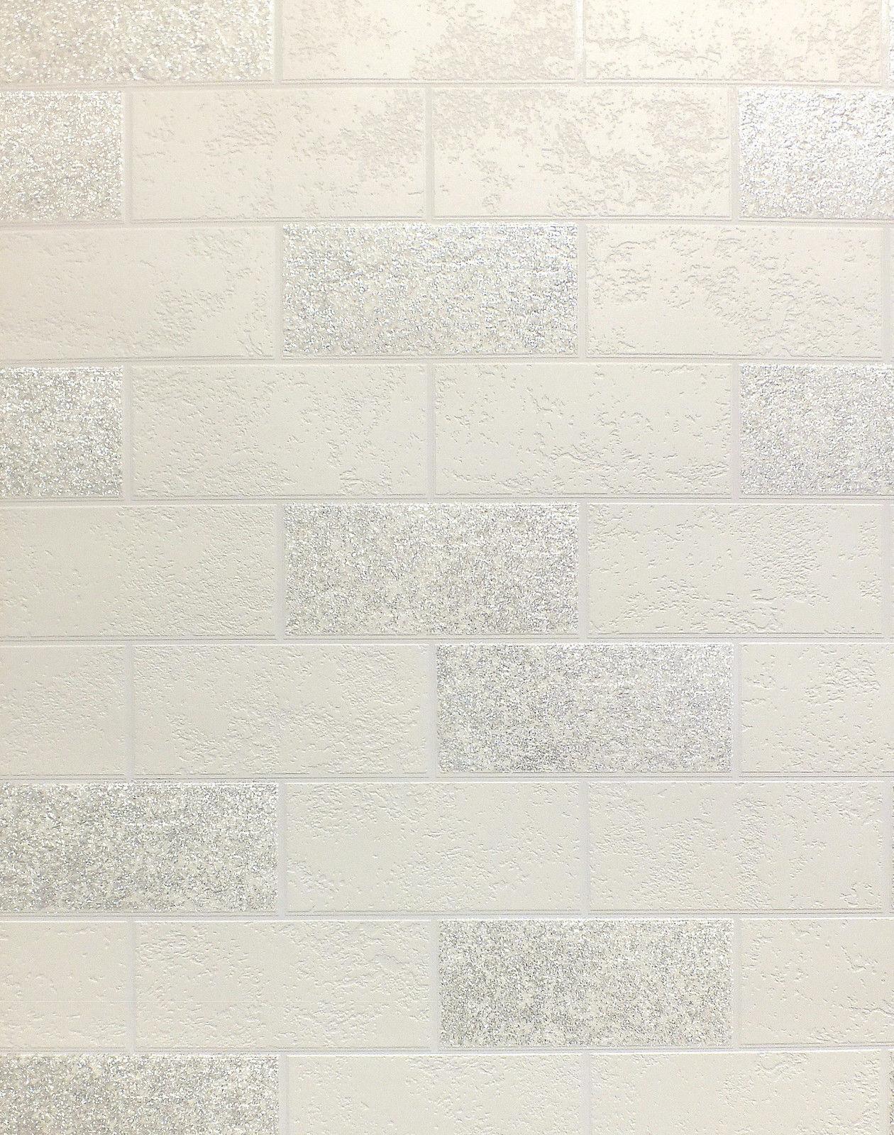 Blanc Argent Paillettes Peint Carrelage Effet Papier Peint