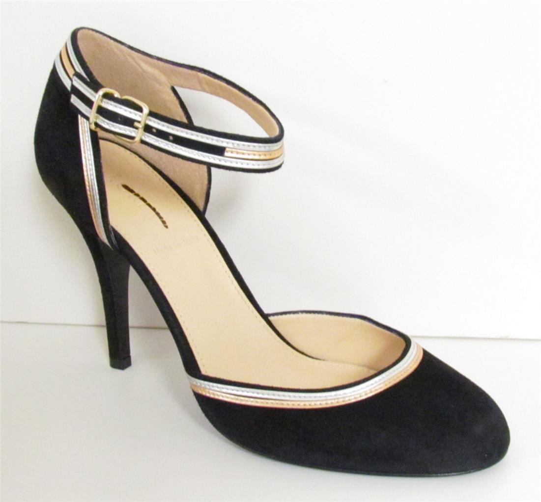 J Crew Ava Metallic Trim Suede Pumps Heels shoes Black Size 9  24827 NEW