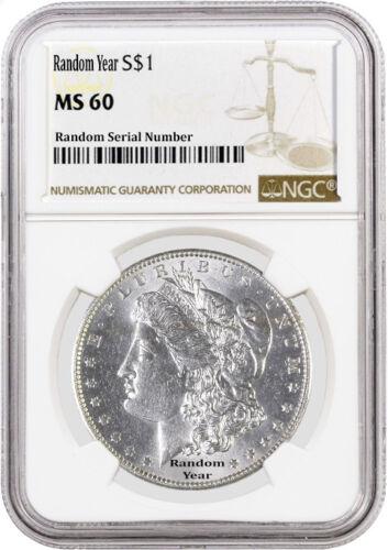 1878-1904 Random Year $1 Morgan Silver Dollar NGC MS60 Uncirculated Coin