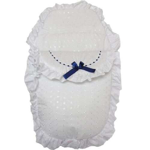 Beautiful Romany Style Navy Ribbon /& White Broderie Anglaise Footmuff Cosy Toes