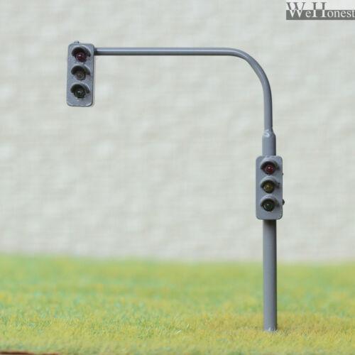 2 x traffic light signal HO OO scale model railroad crossing walk led #LBGR