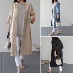 Mode-Femme-Cardigan-100-coton-Manche-Longue-Casual-en-vrac-Confortable-Manteau