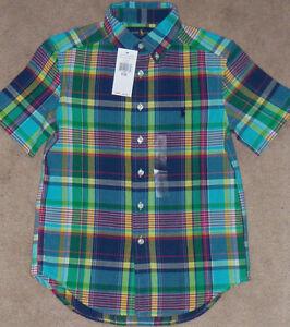 Size 7 White Multi Ralph Lauren Boys Plaid Cotton Shirt