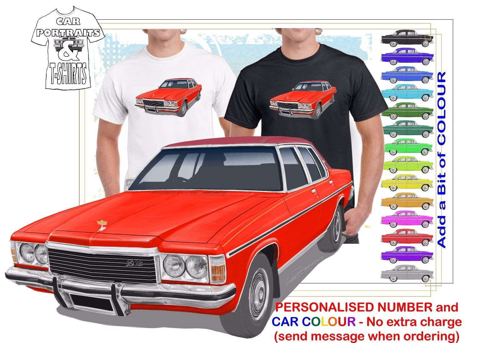 CLASSIC 77-80 STATESMAN DE VILLE ILLUSTRATED T-SHIRT MUSCLE RETRO SPORTS