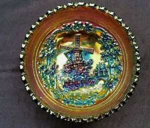 Vintage Imperial Windmill Small Bowl Carnival Glass, Purple