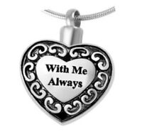 With Me Always Heart Cremation Jewelry Pendant Urn Keepsake Memorial Necklace