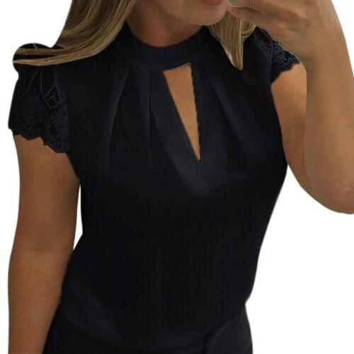Fashion Womens Chiffon Lace Casual T-Shirt Ladies Summer Loose Tops Blouse