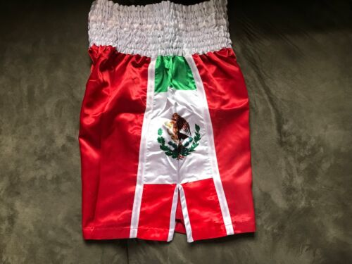 RED MEXICO//US Flag Boxing Trunks Training Fitness Boxing MMA Martial Art Shorts