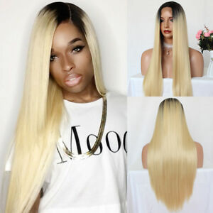 Blonde-Lace-Front-Wig-Synthetic-Peluca-Long-Silky-Straight-Dark-Root-Ombre-Wigs