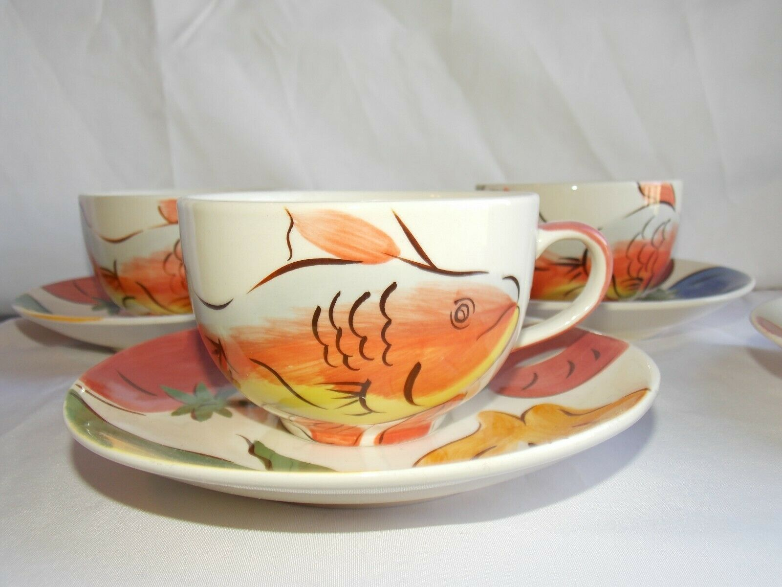 4 Herman Dodge & Son Cup and Saucer Sets Fish, Vegetables Hand-painted Ceramic