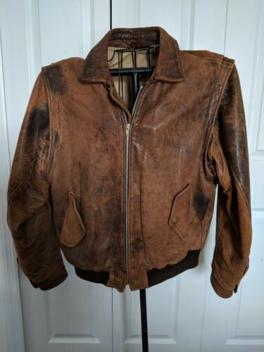 mens brown leather bomber jacket large