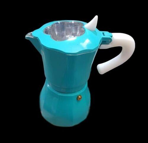 Caffettiera Moka Macchinetta Caffè Espresso Napoletano Mis 2 Tazze Azzurra dfh