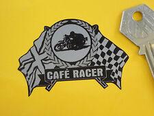 CAFE RACER Flag & Scroll Style 65mm Bike Sticker Black & Silver Rocker Bikers