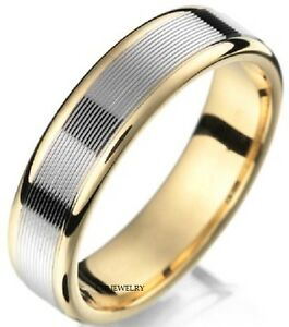 Image Is Loading 10k Two Tone Gold Mens Wedding Bands Shiny