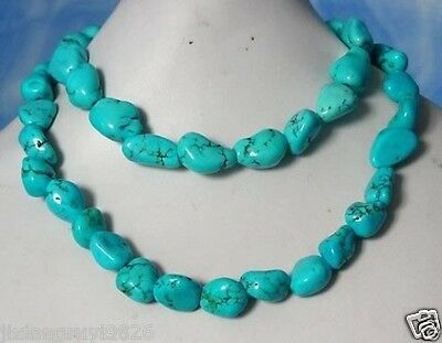 Stunning TURQUOISE NUGGET BEADS NECKLACE 33""