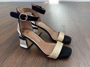 River-Island-Block-Heel-Black-White-Gold-Silver-Brand-New-Size-3-Sandals
