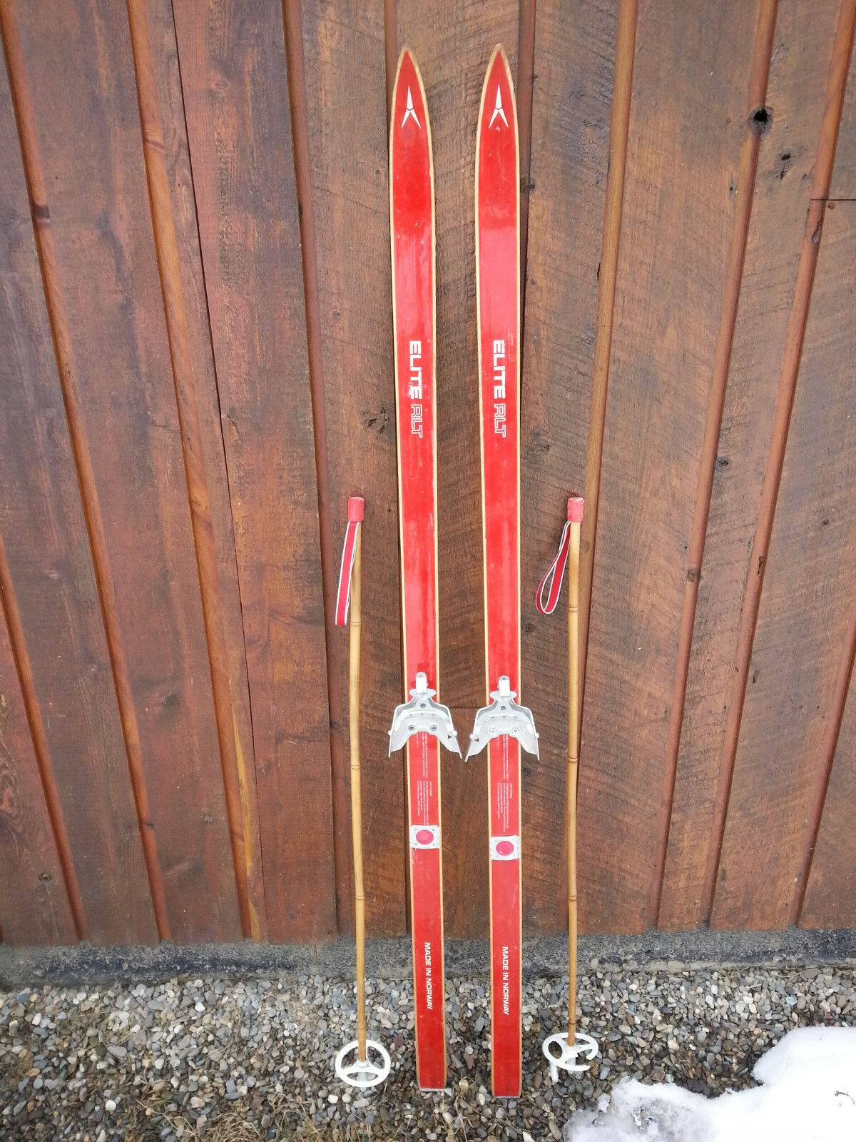 VINTAGE Wooden 63  Skis Signed  ELITE with  RED Finish + Poles  check out the cheapest