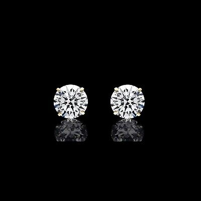 7.00ct Brilliant Cut Round Earrings 14K Solid Yellow Gold Basket Solitaire Studs