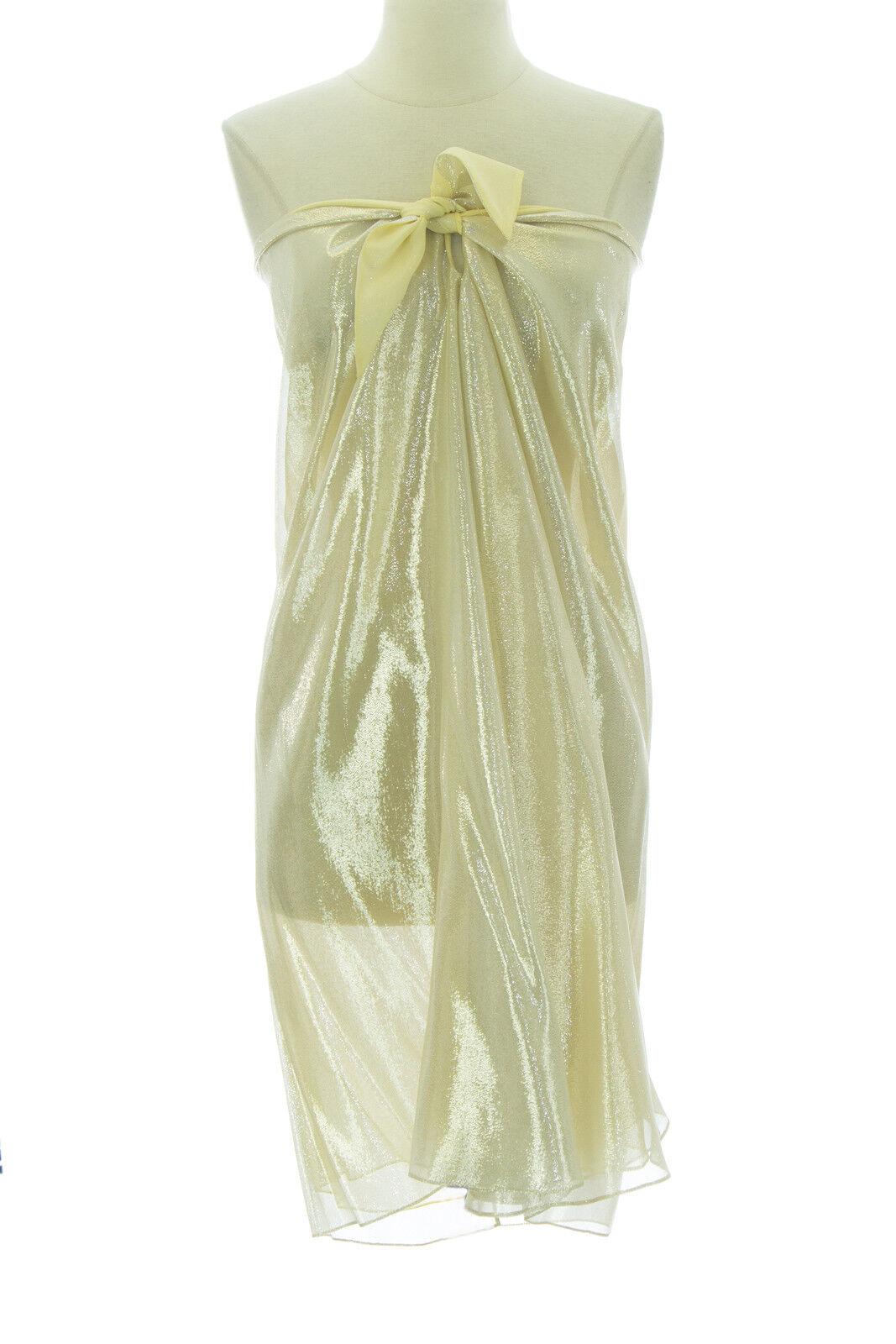 Anne Leman Damen Silber Zitronengelb Trägerloses St.Barth's Kleid 99940 O S  258