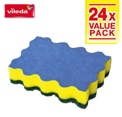 Vileda 3in1 Heavy Duty Sponge Scourer with Microfibre x 24pcs