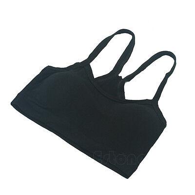 Women Seamless Cotton Tight Strap Tank Vest Sport Bra Wrap Chest Solid Crop Top
