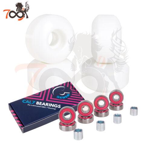 Cal 7 52mm 99A Skateboard White Wheels Free Cal 7 Abec7 Bearings 4 Pcs