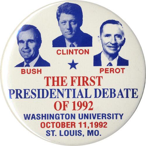 1992 Bush Clinton Perot St 1277 Louis Presidential Debate Souvenir Button