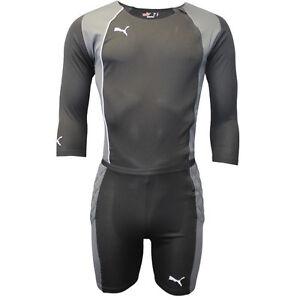 Puma Mens Black Grey All In One Football Goalkeeper Kit Bodysuit ... e5cd09d5f