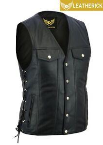 Men-Side-Lace-Denim-Style-Motorcycle-Biker-Premium-Leather-Waistcoat-Vest-UK