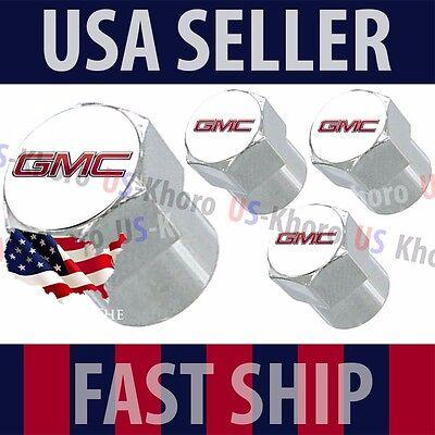 GMC Logo Valves Caps Stems Covers Chromed Wheel Roundel Car Auto Tire Emblem USA