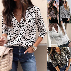 be1c518fad86 UK STOCK Women V Neck Ladies Leopard Print Long Sleeve Loose T Shirt ...